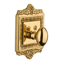 Nostalgic Warehouse - Nostalgic Egg and Dart Deadbolt Keyed Differently in Unlacquered Brass (715118) - With its distinctive repeating border detail, as well as floral crown and foot, the Egg and Dart Single Cylinder Deadbolt in Unlacquered brass resonates grand style. Keyed differently. Made of solid (not plated) forged brass for durability and beauty.