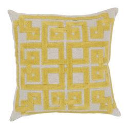 "Surya - Surya 18 x 18 Decorative Pillow, Oatmeal and Quince Yellow (LD005-1818P) - Surya LD005-1818P 18"" x 18"" Decorative Pillow, Oatmeal and Quince Yellow"