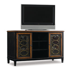Hooker Furniture - Entertainment Console 60 inch - Two glass doors with two adjustable shelves behind each; center section with two adjustable shelves; three electrical outlets; ventilation; levelers.