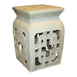 Belle & June - Square Garden Stool Vanilla - Reminiscent of an exotic lantern, this square-topped garden stool is as functional as it is beautiful. Dot a few amongst your perennials, succulents and shrubs and watch your garden transform from a nice bit of nature to a glamorous outdoor oasis (with extra seating!)
