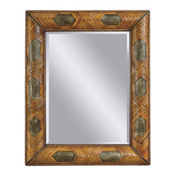Bassett Mirror - Banana Leaf Wall Mirror - Banana Leaf and Copper - Rectangle. Measures: 44 in. W x 53 in. H.