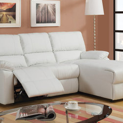 Small Cream Leather Reclining Sectional Sofa Set Recliner Right Chaise -