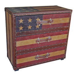 International Caravan - International Caravan Americana Stars and Stripes 3-Drawer Chest - International caravan - Chests - 46B10B377A - This truly unique piece adds a touch of vintage Americana to your decor. This 'Stars and stripes' 3-drawer chest combines the classic faux leather look of 'Old Glory' and has the storage capability of a three-drawer design.