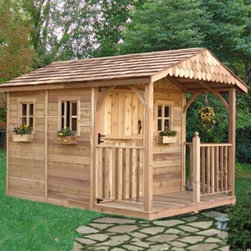 Outdoor Living Today SR812 Santa Rosa 8 x 12 ft. Garden Shed - The Outdoor Living Today SR812 Santa Rosa 8 x 12 ft. Garden Shed is definitely not your typical backyard shed. This beautiful structure offers a deck on the porch making it more of a backyard getaway. The Santa Rosa is great for storing tools and outdoor supplies but let your imagination run wild with other ways to use it. Made with attractive sturdy Western red cedar this shed boasts a mahogany veneer on the interior panels a rustic cedar shake roof and cedar-planked double doors that open up 62 inches wide for easy access and usability. Other features include decorative cedar shingle gables and three windows with screens. Assembly is a weekend project for one or two people. One-year limited warranty included.DimensionsExterior: 8.2W x 11.5D x 8.75H feetInterior: 7.6W x 10.9D x 8.2H feetDoor: 2.6W x 6H feet About Cedar WoodCedar wood is lightweight and resistant to both cracking and moisture rot. The oils of this resilient wood guard against insect attack and decay and their distinctive aroma acts as a mild insect repellant. Cedar is a dependable choice for outdoor furniture either as a finished or unfinished wood. Over time unfinished cedar left outdoors will weather to a silvery gray patina. This natural process does not compromise the strength or integrity of the wood.Another great aspect of cedar is its environmental effect - which is minimal. A renewable resource cedar wood emits low greenhouse gases. So rest assured knowing that your beautiful cedar furniture is a green choice too!About Outdoor Living TodayOutdoor Living Today has a simple goal. That goal is to provide the best wood products to the marketplace at the best value. Established in 1974 Outdoor Living Today has a well-earned reputation for making products that are functional durable attractive and affordable. Products are designed so that the average person with limited building skills can assemble them. Gazebos sheds playhouses and pe