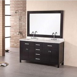 """Design Element - Design Element London 61"""" Double Vanity - Espresso - The London 61"""" Double Sink Vanity Cabinet, constructed with solid wood, provides a contemporary design perfect for any bathroom remodel. The ample storage in this free-standing vanity includes two flip-down shelves, four fully functional drawers and two double door cabinets each accented with brushed nickel hardware. This vanity cabinet is available in an espresso or white finish. You have the option to add a white carrera marble countertop with white porcelain sinks, pop-up drains and matching mirror to make your own complete bathroom vanity set. Features Solid wood cabinet Two large drawers, four center drawers, double soft closing cabinet doors, satin nickel finish hardware. Soft closing cabinet door ensures you never hear door slam again. Available as a Vanity Set including: White Carrera Marble Countertop, White Porcelain Sinks, Pop up Drains, Matching Mirror Faucet(s) not included Manufacturer provides 1 year warranty How to handle your counterManualView Spec Sheet Natural stone like marble and granite, while otherwise durable, are vulnerable to staining from hair dye, ink, tea, coffee, oily materials such as hand cream or milk, and can be etched by acidic substances such as alcohol and soft drinks. Please protect your countertop and/or sink by avoiding contact with these substances. For more information, please review our """"Marble & Granite Care"""" guide."""