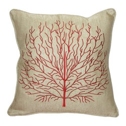 Pillow Decor - Pillow Decor - Fire Coral 17x17 Throw Pillow, Red - Decorative Pillow Features