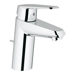 "Grohe - Grohe 2 Eurodisc Cosmopolitan Single Hole Bathroom Faucet with SilkMove - Product Features:  Faucet body constructed of solid brass Covered under Grohe's limited lifetime faucet & finish warranty Grohe faucets are exclusively engineered in Germany Adjustable flow rate limiter Includes a pop-up drain assembly Single handle operation ADA compliant - complies with the standards set forth by the Americans with Disabilities Act for bathroom faucets Low lead compliant - meets federal and state regulations for lead content WaterSense Certified product- uses at least 30% less water than standard 2.2 GPM faucets, while still meeting strict performance guide lines Designed for use with standard U.S. plumbing connections All hardware needed for mounting is included with faucet  Why Buy Grohe 33 413 2 Lavatory Faucet From Us:  We are a Grohe Preferred Authorized Online Dealer for Guaranteed Warranty Coverage Customer Care Experts Available 7 Days a Week to Serve You Before & After Purchase A Showroom Experience from the Comfort of Your Home or Office  Product Technologies / Benefits:  Starlight Finish:  Continuously improving over the last 70 years Grohe�s unique plating process has been refined to produce and immaculate shiny surface that is recognized as one of the best surface finishes the world over. Grohe plates sub layers of copper and/or nickel to ensure that a completely non-porous, immaculate surface awaits the chrome layer. This deep, even layered chrome surface creates a luminous and mirror like sheen. SilkMove Cartridge:  The rich and smooth handling of our single lever faucets conveys pure quality. As you change the temperature from hot to cold, one ceramic disc glides effortlessly across the other with absolute precision. These cartridges are manufactured in a high-tech process and feature discs made from a space-proven ceramic alloy. The SilkMove cartridge is yet another example of design and technology fusing to bring you an enhanced water experience. QuickFix Plus: Precision engineering has enabled Grohe to simplify the installation process by reducing the complexity and number of parts required to fit a product. This installer-focused technology can reduce installation times by up to 50%, saving both time and money.  Grohe EcoJoy: These products feature integrated water-saving technologies that restrict flow rates, allowing you to reduce water consumption without sacrificing on performance or design. The result is less environmental impact and reduced running costs. All Grohe EcoJoy products effortlessly save water and energy while delivering the perfect water flow. SpeedClean: Never letting hard-water or grime stop you from enjoying your showerhead to the fullest. Aerators with Grohe�s SpeedClean technology have spray nozzles made of high quality silicon material. A simple wipe of a finger ensures a like-new water flow. Yet another way Grohe ensures you make the most of your water experience.Product Specifications: Overall Height: 6-5/16"" (measured from counter top to the highest part of the faucet)Spout Height: 3-7/16"" (measured from counter top to the spout outlet)Spout Reach: 4-9/16"" (measured from the center of the faucet base to the center of spout outlet)Mounting Type: Single holeNumber of Holes Required For Installation: 1Flow Rate: 1 - 1.5 GPM (gallons per minute)Maximum Deck Thickness: 1-5/16""1 handle included with faucetVariations: 33 413 2: This model33 413: Previous (discontinued) version of this model32 302 2: This model without drain assemblyAbout Grohe:At Grohe design goes deeper than just aesthetic trappings. It is a quality feature and is targeted toward the perfect synthesis of form and function. The result is joyous experience you have every time you use one of their products. Grohe subscribes to a straight forward and consumer-centric design philosophy; grounded in the belief that good design must transcend form and function to create an emotional bond with its users. With a reputation built on performance and longevity, Grohe products are sure to surprise and delight users with every interaction for years of unsurpassed performance. With Grohe�s specialist knowledge it is second to none as they continue to push boundaries, challenge pre-conceptions and create new and exciting ways for their customers to enjoy water."