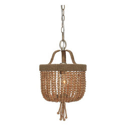 Crystorama - Crystorama 273-BS Eva 1 Light Chandeliers in Burnished Silver - Eva is a free spirit of our lighting collections. As all-natural beauty wrapped in jute and adorned with strands of golden rock crystal or natural wooden beads. Finished in burnished silver, which mimics the look of silver foiled over gold.