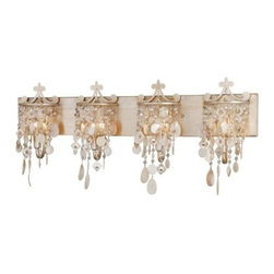 Vaxcel Anastasia 4-Light Vanity - 31W in. Silver Leaf - The hanging seashell and bead accents of the Vaxcel Anastasia 4-Light Vanity - 31W in. Silver Leaf provide a fun way to add light to your space while not forcing the bulbs to take center stage. This contemporary metal fixture incorporates four, 60-watt candelabra bulbs and is damp-rated, making it ideal for bathrooms.About Vaxcel LightingFor over 20 years, Vaxcel International has been a premier supplier of residential lighting products. Based in Carol Steam, Ill., Vaxcel's product line is composed of more than 2,000 items, ranging from builder-ready fixtures and ceiling fans to designer chandeliers and lamps, in the latest styles and finishes. They're known in the industry for offering a full selection of products at competitive prices.