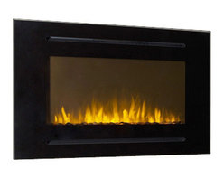 """Touchstone Home Products - Forte 40"""" Recessed Electric Fireplace- Black - The Touchstone Forte is a 40"""" wide electric fireplace, designed to be mounted into your wall. The Forte features a classic black glass finish, with 3/4"""" slots above and below the flame for the fireplace's heater operation. The Forte's flames are even more intense than our other fireplaces, thanks to the 14"""" high flame display, with a distinctive and contrasting white stone base. It has five flame settings and two heat setting also can also heat up to 400 square feet."""