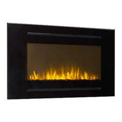 "Touchstone Home Products - Forte 40"" Recessed Electric Fireplace- Black - The Touchstone Forte is a 40"" wide electric fireplace, designed to be mounted into your wall. The Forte features a classic black glass finish, with 3/4"" slots above and below the flame for the fireplace's heater operation. The Forte's flames are even more intense than our other fireplaces, thanks to the 14"" high flame display, with a distinctive and contrasting white stone base. It has five flame settings and two heat setting also can also heat up to 400 square feet."