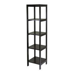 Winsome Wood - Winsome Wood Hailey Modular Tower Shelf with Dark Espresso Finish X-51629 - Hailey line of modular entertainment and storage/display furniture this 5 tier wood shelf in Espresso finish is designed to stand alone or be paired with other pieces to create and entertainment set.