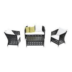 """Lamps Plus - Contemporary 4-Piece Green Outdoor Patio Furniture Set - 4-Piece Green Outdoor Patio Furniture Set. 4-piece outdoor patio furniture set. Dark synthetic wicker construction won't rust chip crack or peel. Soft 3"""" thick cushioning in durable white polyester outdoor fabric. Welded aluminum frames. Set includes 2 armchairs one loveseat and one coffee table. Includes 2 soft green outdoor throw pillows. Seats 4-5 people. Easy to maintain; clean with soap and water. Arm chairs are 24"""" wide 28"""" deep and 30"""" high. Loveseat is 47"""" wide 28"""" deep and 30"""" high. Coffee table is 36"""" wide 20"""" deep and 16"""" high. Fully assembled.     4-piece outdoor patio furniture set.  Dark synthetic wicker construction won't rust chip crack or peel.  Soft 3"""" thick cushioning in durable white polyester outdoor fabric.  Welded aluminum frames.  Set includes 2 armchairs one loveseat and one coffee table.  Includes 2 soft green outdoor throw pillows.  Seats 4-5 people.  Easy to maintain; clean with soap and water.  Arm chairs are 24"""" wide 28"""" deep and 30"""" high.  Loveseat is 47"""" wide 28"""" deep and 30"""" high.  Coffee table is 36"""" wide 20"""" deep and 16"""" high.  Fully assembled."""