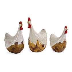 Distressed White Antiqued Chickens Statues - Set of 3 - *Country antiqued set of three chickens in graduated sizes.