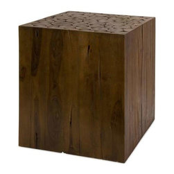 Zatana Teak Wood Side Table - Asian inspired 100% teak wood side table with cross-section design on top
