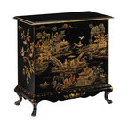 """Inviting Home - Hand-Painted Chinoiserie Chest - Hand-painted rectangular chest with Chinoiserie design; 36""""W x 18""""D x 36-1/2""""H; Hand-painted rectangular chest with Chinoiserie design on an antiqued crackled background. Hand painted chest has five drawers and antiqued brass hardware."""