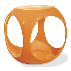 Avenue Six - Avenue Six Slick Cube Occasional Table, Orange - -High gloss, molded table with internal storage area for magazines, books and more