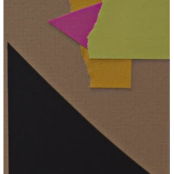 Karen La Du - Pink Triangle Collage Artwork - 4 part Collage can be matted and framed together or separately.  Acid free paper on acid free mat board.