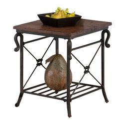 Jofran - Jofran 772-3 Rutledge End Table w/ Metal Slat Shelf in Distressed Rustic Pine - Crafted from solid pine and tubular steel, this sturdy set is sure to last through the years. Equipped with plenty shelf space this set allow you plenty of space for displaying bowls or trinkets with room on the table top for a vase or framed picture. With the distressed pine look this collection will always be the topic of conversation among your guests.