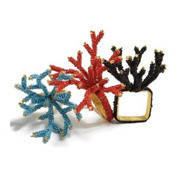 "Kim Seybert Set of 4 ""Coral"" Beaded Napkin Rings - I can't say I bother with napkin rings all that often, but if I had these, I swear I would. They are so whimsical and pretty. Slipping them around a white or black linen napkin is like adding jewelry to the table."