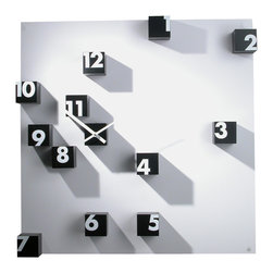 Progetti - RND Time Pannello 1340 Black Wall Clock - Wall clock, small cubes in nylon. White panel in plastic. Battery quartz movement. The small cubes are screwed to the panel but they can be detached and be assembled random on the wall.  Available in Black and White.