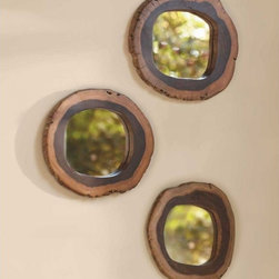 Free-Form Wall Mirrors - These Free-Form mirrors from Viva Terra were created by a South African design studio that's committed to sustainable foresting. The mirrors are framed with slices from fallen trees, and the wood grain and live edge will add to your decor.