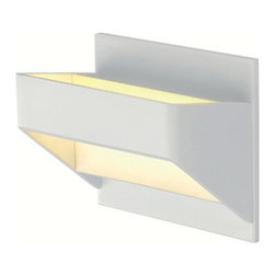 SLV Lighting - Dacu LED Wall Sconce - Dacu LED Wall Sconce is made from aluminum and is available in White or Brushed Aluminum finish options. Includes 4 watt 3000K LED, 310 lumens, and 200mA LED driver. Dimensions: 5.5W x 5.9H x 3.8D. ADA Compliant.
