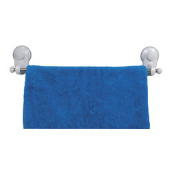 Towel Stand 1 Bar on Strong Suction Cups Pp White - This towel stand is made of durable polypropylene and provides adequate storage for any towel. It features one stainless steel bar to keep the towels off the floor and neatly organized. It has two extremely strong suction cups for a secure adhesion to bath tiles. Simply turn the suction cup buttons and hold firmly to your shower wall without any drilling, tools, or damage to your walls. Length of 19.7-Inch, depth of 2.75-Inch and height of 3.93-Inch. Wipe clean with soapy water. Color white. Easily organize and dry your bath towels with this towel stand! Complete your decoration with other products of the same collection. Imported.