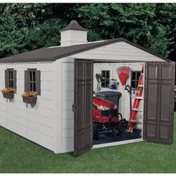 Suncast 10.5 x 12.5 ft. Garden Shed - Dimensions:Exterior dimensions: 10.43W x 12.69D x 9.58H feetInterior dimensions: 9.75W x 12.08D x 7.03H feetDoor dimensions: 4.67W x 5.73H feetBoasting 775 cubic feet of space the Suncast 10.5 x 12.5 Foot Storage Building is large enough to store your tractor gardening tools lawn furniture trash cans and more. The durable resin construction means it will look like new year after year will never peel or warp and will never need to be sanded or painted. Designed to withstand the harshest elements this shed will stay dry at all times. Double doors allow easy access to the inside while lockable doors with upper and lower latches ensure the security of your property. A skylight lets in enough natural light to make your way around during the day and a charming cupola on the roof gives this shed a softened look. Four windows with shutters and window boxes give this shed a cozy feel. Clean lines attractive taupe and bronze color and versatile function make this storage building the perfect backyard storage solution. Assembly is a weekend project for one or two people.About Suncast CorporationSuncast is known for its high-quality low-maintenance storage products and accessories. Organize gardens back yards garages basements and more. Suncast's full line of products includes everything from storage lockers to sheds and bins. Suncast pieces are designed for low-maintenance worry-free performance that's versatile enough to suit your every need.