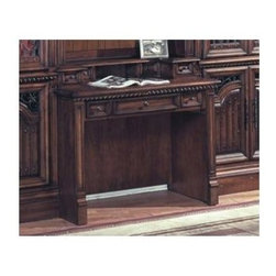 Parker House - Solid Wood Library Desk In Spanish Revival St - You won't be spending time at the library anytime soon if you have the library desk at home with its Spanish revival style. Its carvings and accents are intricately yet tastefully executed. It's truly a joy to behold! Spanish Revival. Solid Poplar with Maple Veneers, cast metal (Zinc) door grills and metal accents. Dark red walnut stain with hand wiped overglaze, hammered nail head accents. Includes Power Center with 3 A/C outlets, phone jack and high speed connector. Drop face drawer that can be used for lap top or keyboard. Shallow enough for library ladder to slide across front. Matching 2 drawer file cabinet fits both standard and legal size Pendaflex files . 40 3/4 in. W x 22 1/2 in. D x 35 in. H