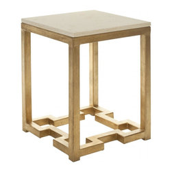 Safavieh - Ray Accent Table - The Ray accent table is inspired by Chinese Art Deco style with substantial burnished gold base offset by the softness of a creamy ivory marble top.
