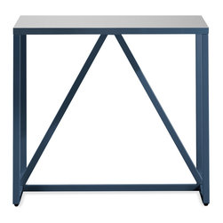 Blu Dot - Blu Dot Strut Side Table, Navy - Structure and design are one with the Strut. A proud stance for any gathering. Choose ivory for a subtle impact. For more punch power choose slate or watermelon. Powder-coated steel frame with a durable polyurethane finish over MDF for the top. Lacquer on engineered wood substrate with glossy polyurethane finish, Powder-coated steel legs