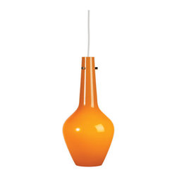 Robert Abbey - Capri Tall Pendant - Capri Tall Pendant features a sleek modern shape cased glass base with Polished Nickel accents. Cased glass available in White, Yellow, Green, Orange, or Blue. Comes with 11 feet of white suspension cord. One 100 watt, 120 volt A19 type Medium base incandescent bulb is required, but not included. General light distribution. UL listed.  8.25 inch width x 18 inch height x 144.75 inch maximum length.