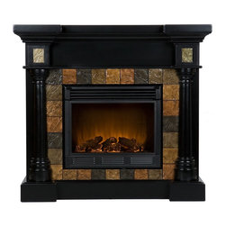 Holly & Martin - Holly & Martin Weatherford Convertible Electric Fireplace - Dark earth tone faux slate tiles surround the firebox on this black fireplace mantel to create a look that is unbeatable. Rounded columns on either side of the firebox are topped off with square tiles, adding cohesion to the design. This versatile fireplace is complete with a collapsible panel, making it easy to place against a flat wall or in a corner. Requiring no electrician or contractor for installation allows instant remodeling without the usual mess or expense. In addition to your living room or bedroom, try moving this fireplace to your dining room for a romantic dinner or complement your media room with a ventless fireplace below your flat screen television. Use this great functional fireplace to make your home a more welcoming environment.