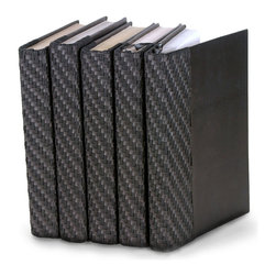 Italian - Woven Collection - Black - Set of 5 - You can, indeed, judge a book by its cover. A visually striking set of decorative tomes, the Italian Woven Collection - Black - Set of 5 makes an impressive graphic statement when placed upon a shelf in an eclectic great room, a window ledge in a home office, a fireplace mantel embellished with objects d'art, or glass-fronted armoire in a personal library.