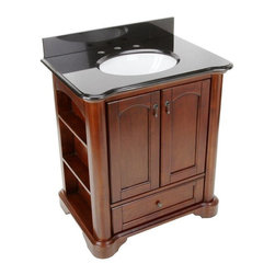 Pegasus - Pegasus Vermont 30in. Birch Vanity with Granite Vanity Top, Black, Mahogany - Vermont 30 in. Birch Vanity in Mahogany with Granite Vanity Top in Black with White Basin