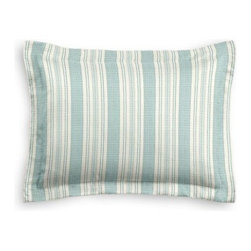 Aqua & Ivory Handwoven Stripe Custom Sham - The Simple Sham may be basic, but it won't be boring!  Layer these luxurious reversible shams in various styles for a bed you'll want to fall right into. We love it in this handwoven cotton feedsack stripe in sky blue that will take your rustic space from shabby to chic.