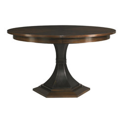 Hickory White - Hickory White Paxton Single Pedestal Table 240-10 - Maple solids with walnut veneers, no distressing.