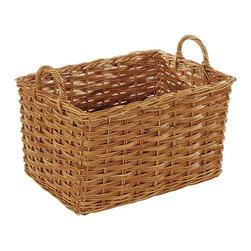 Eco Displayware - Large Rectangular French Rattan Bin in Natura - Great for closet, bath, pantry, office or toy and game storage. Earth friendly. Height without handle: 13 in. H. Height with handle: 17 in. H. 22 in. L x 17 in. W (22.44 lbs.)These natural colored baskets add warmth and charm and keep you organized.