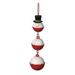 Midwest CBK - Snowman Fishing Bobber Christmas Tree Ornament - Holiday Gift Decoration - Snowman Dangle Christmas Ornament