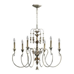 Quorum International - Salento Six-Light Persian White Chandelier - Salento Six-Light Persian White Chandelier.  Comes with 8? of chain and 10? of wire.  - Canopy is 5.5  - Has a very distressed finish Quorum International - 6006-6-70