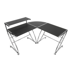 Studio Designs - Executive L-Shape Workcenter - Heavy Gage Steel Construction For Durability. Chrome Legs resist scratching. Eight floor levelers for uneven surfaces. Table tops consists of two 32 in. W x 23.5 in. D main work surfaces connected by a 23.5 in. W x 23.5 in. D black glass corner connector. Includes a 32 in. W x 10 in. D glass top shelf. Overall dimensions: 57.5 in. W x 57.5 in. D x 36 in. H (79 lbs)