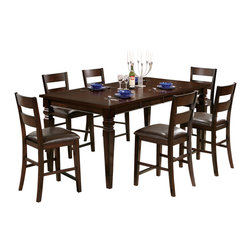 """Steve Silver Furniture - Steve Silver Gibson 7-Piece Rectangular Counter Table Set w/ Ladderback Chairs - A marriage of form and function, the Gibson Dining Collection, offers a clean, contemporary style with extra storage space options. The versatile Gibson 2-in-1 dining/Counter table can change from a regular height Dining table (30""""H) to a counter height Dining table (36""""H) with the addition of the 6""""H tapered leg extensions. The table top features two 18"""" leaves allowing you to entertain an intimate group or a crowd! The table measures 42""""W x 48""""L; 42""""W x 66""""L with one leaf; 42""""W x 84""""L with two leaves. Surround with any of the matching Gibson chairs in regular or counter height, and you have a set that is much more than a place to dine."""