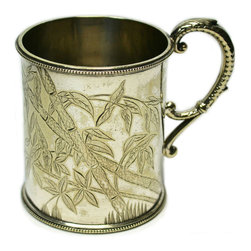 Lavish Shoestring - Consigned Silver Plated Coffee Can w/ Bamboo Decoration by Walker & Hall, Aesthe - This is a vintage one-of-a-kind item.