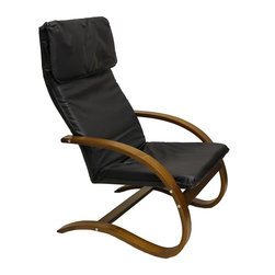 International Caravan - Wooden Lounge Chair (Black) - Choose Upholstery: BlackBlack faux leather upholstered seat. Made from bentwood. Walnut wood finish. Assembly required. 31 in. W x 26 in. D x 39 in. H (18 lbs.)Perfect for game rooms, living areas and bedrooms.