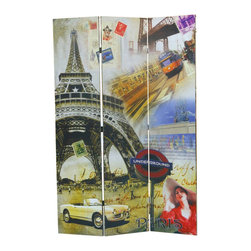 Adarn Inc - Modern French Parisian Eiffel Tower Scenery 3 Panel Room Divider Screen Shoji - The modern style of this 3 Panel Wood Screen simply sweet and it is sure to compliment any home decor. Define space and create privacy with this screen, which is a simple, elegant way to divide a room. Room dividers are great for dorm rooms, bedrooms and other areas that need dividing or privacy solutions - also useful for creating separate spaces in a shared home office. This 3-panel folding screen features a wood frame with white canvas inlay. Add instant decor and privacy to your home with this beautiful floor screen.