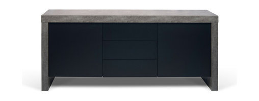 Temahome - Kobe 2 Doors & 3 Drawers Sideboard, Concrete/Pure Black - The robust Kobe sideboard brings style into any home. The Kobe's ample storage space, is available with three doors or two doors & three deawrs.  A piece made to last that lends a modern accent to every room.