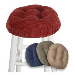 Klear-vu Corporation - Polar Bar Stool Cover - Subtle stripes in complementary shades create this attractive and comfortable bar stool cover. The plush fabric has Spill Guard protection, and the color coordinated Gripper non-slip backing helps it stay in place.