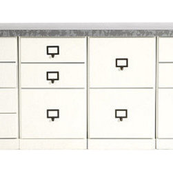 "Ballard Designs - Original Home Office 4-Cabinet Credenzas with Zinc Top - Generous 66""W work surface. File Storage Cabinets have full-extension glides. Open Storage Cabinets have coordinating basket options (sold separately). Crafted with solid wood frames & fine veneers. Swatches available. We invented the modular Original Home Office to give you total design flexibility. Each piece works with every other, so you can create an office that works perfectly for you. To customize your Credenza, choose any four cabinets from seven versatile options. Select a wood top to match your cabinet finish or zinc top with your choice of cabinet finish. Adjust the working height by adding an optional Plinth Base. Add a Small Open Base or 3-Drawer Hutch (see Hutches) to create vertical storage above. Finished on three visible sides and designed to stand against the wall. See all your options below. 4-Cabinet Credenza features:  . .  . . . Download free Design Guide above. Download free drawer label templates above."
