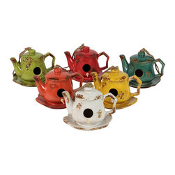 Ceramic Tea Pot Bird Feeder Assortment - Set of 6 - *Ceramic Tea Pot Bird Feeder Assortment Set of Six